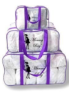 Набор из 3 прозрачных сумок в роддом Mommy Bag сумка - S,L,XL - Фиолетовые