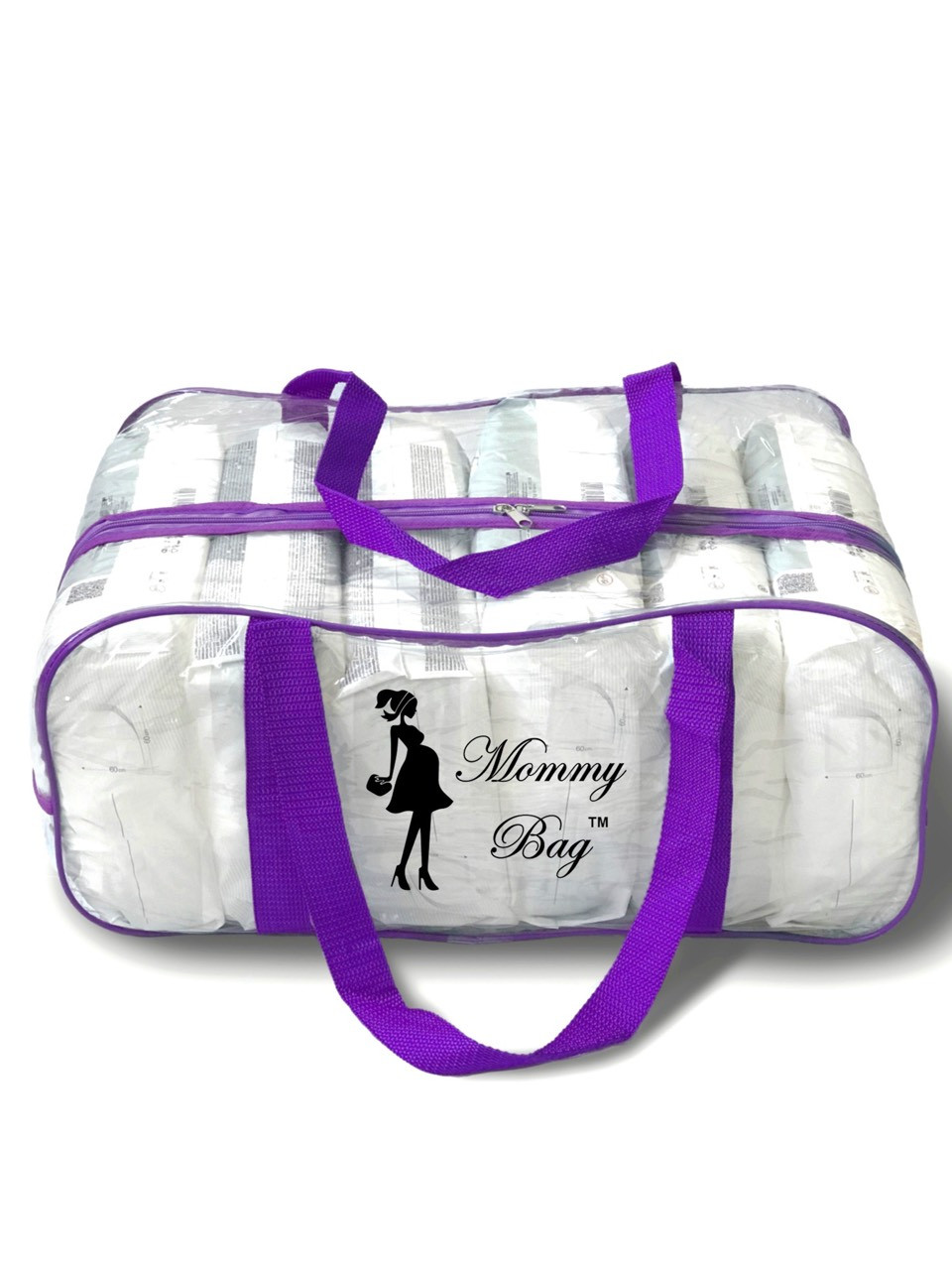 Сумка прозрачная в роддом Mommy Bag - L - 50*23*32 см Фиолетовая