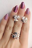 Набор серебряных украшений - серьги и кольцо