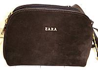 Женский коричневый клатч Zara из натуральной замши на 3 отделения 25*17 см, фото 1