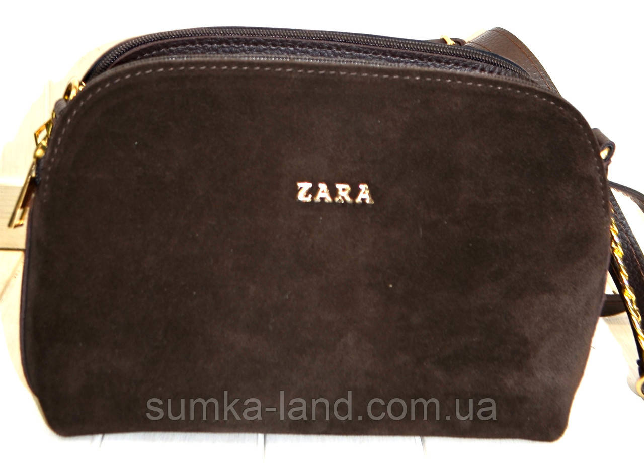 Женский коричневый клатч Zara из натуральной замши на 3 отделения 25*17 см