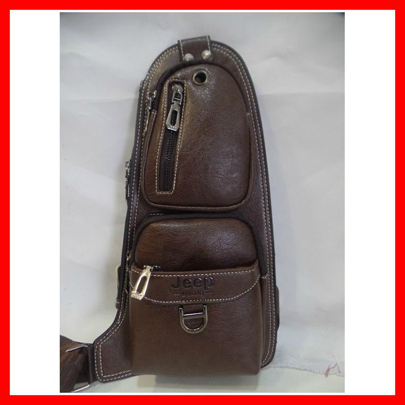 Мужская сумка через плечо бананка Jeep Buluo Bag 3693 коричневая