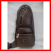 Мужская сумка через плечо бананка Jeep Buluo Bag 3693 коричневая, фото 1