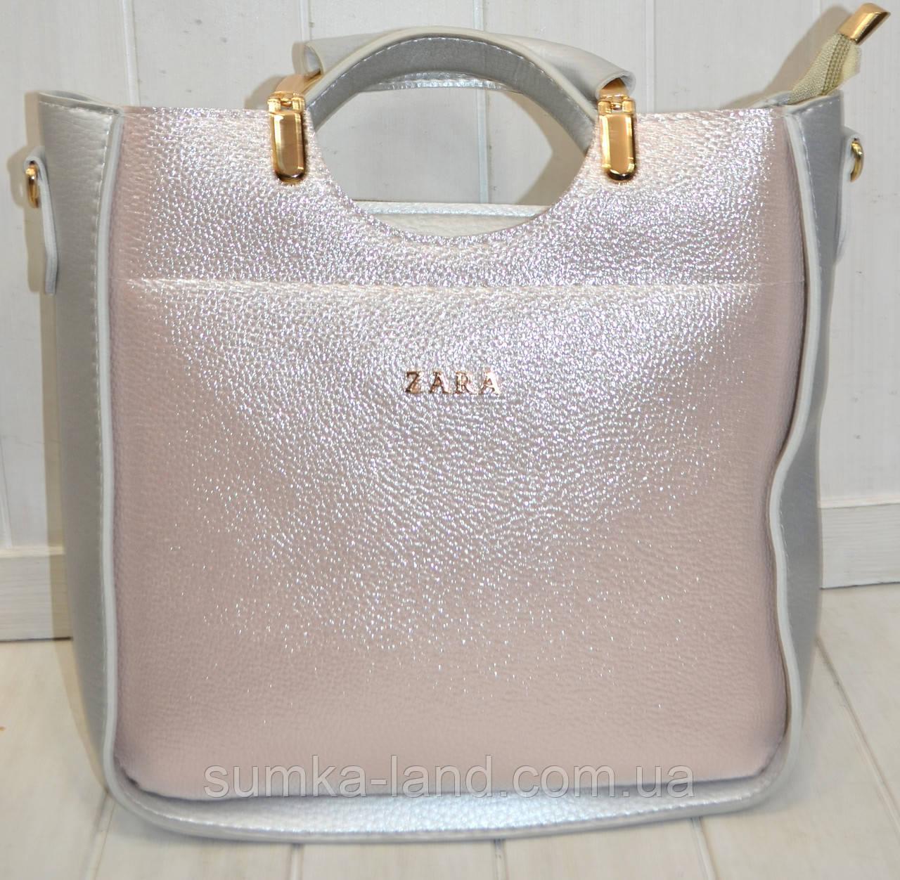 4c53b0220a14 Женская сумка Zara из эко-кожи серебристая с пудровым оттенком 26*26 ...