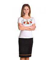 """Женская футболка с вышивкой """"Маки"""" М-702"""