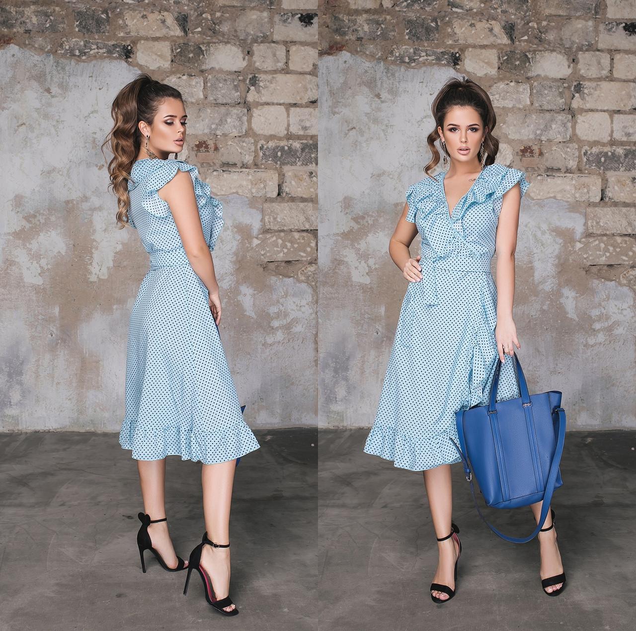 Женское летнее платье на запах с воланами. Размеры:42-46 .+Цвета