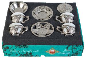 Подарочный сервиз для кофе по-турецки (серебро) 100 мл (10006893)