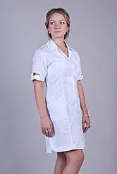 медицинский халат с коротким рукавом 2128 (  батист 40-60 р-р )