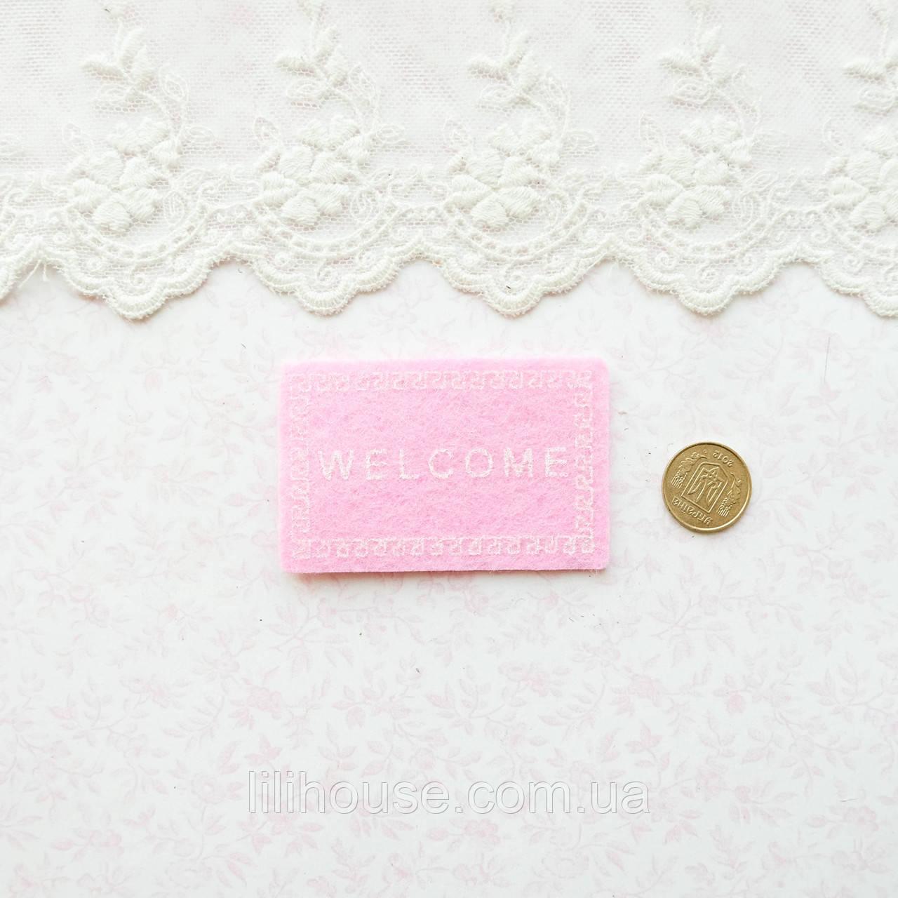 1:12 Миниатюра Коврик Welcome 5.8*3.8 см РОЗОВЫЙ