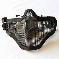 Защитная маска сетка на нижнюю часть лица V2 ЧЕРНАЯ