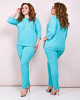 Модный женский костюм-двойка больших размеров! Цвет: мята, арт 0656