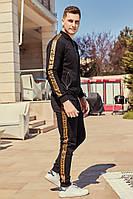 Спортивный костюм мужской Черный с шевроном и лампасами норма и Батал
