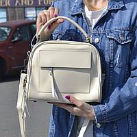 """Женская кожаная сумка-саквояж  """"Элизавет Beige"""", фото 1"""