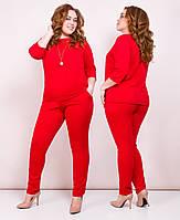 Стильный женский костюм больших размеров! Цвет: красный, арт 0656