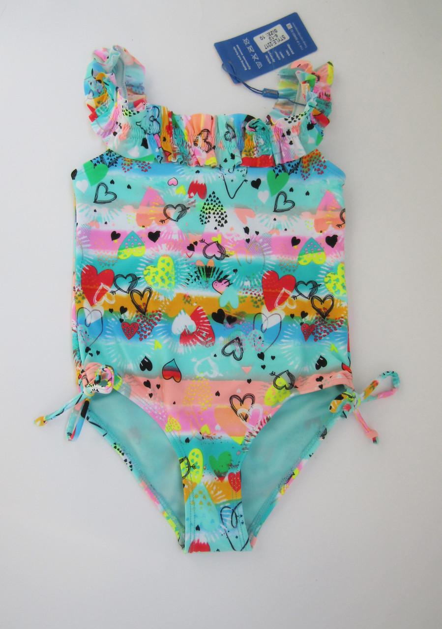 Совместный детский купальник для девочек от 6 до 12 лет Бирюза