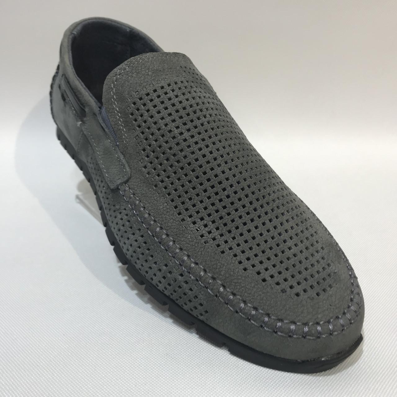 Мужские мокасины летние туфли кожаные Maxus / серые 41, 42, 45