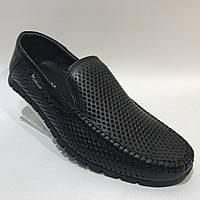 Мокасины летние мужские кожаные Maxus / черные