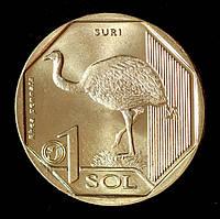 Монета Перу 1 соль 2018 г. Страус Нанду