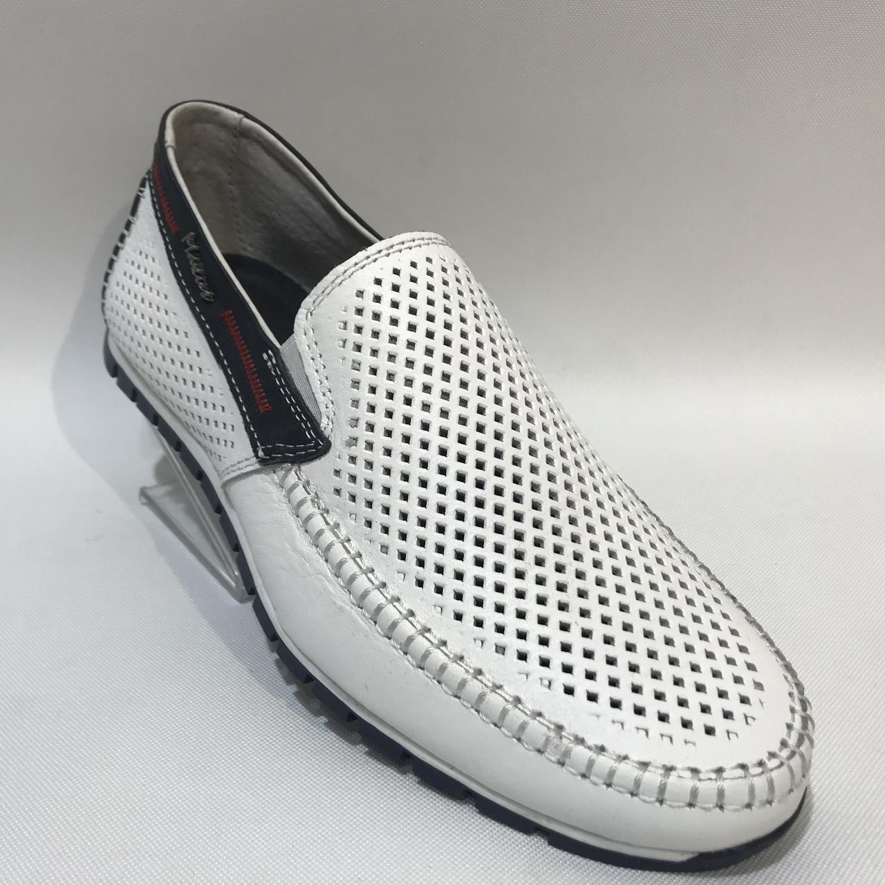 Мокасины летние мужские туфли кожаные Maxus / белые отличного качества 41,42,43