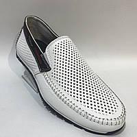 Мокасины летние мужские туфли кожаные Maxus / белые отличного качества 41,42,43, фото 1