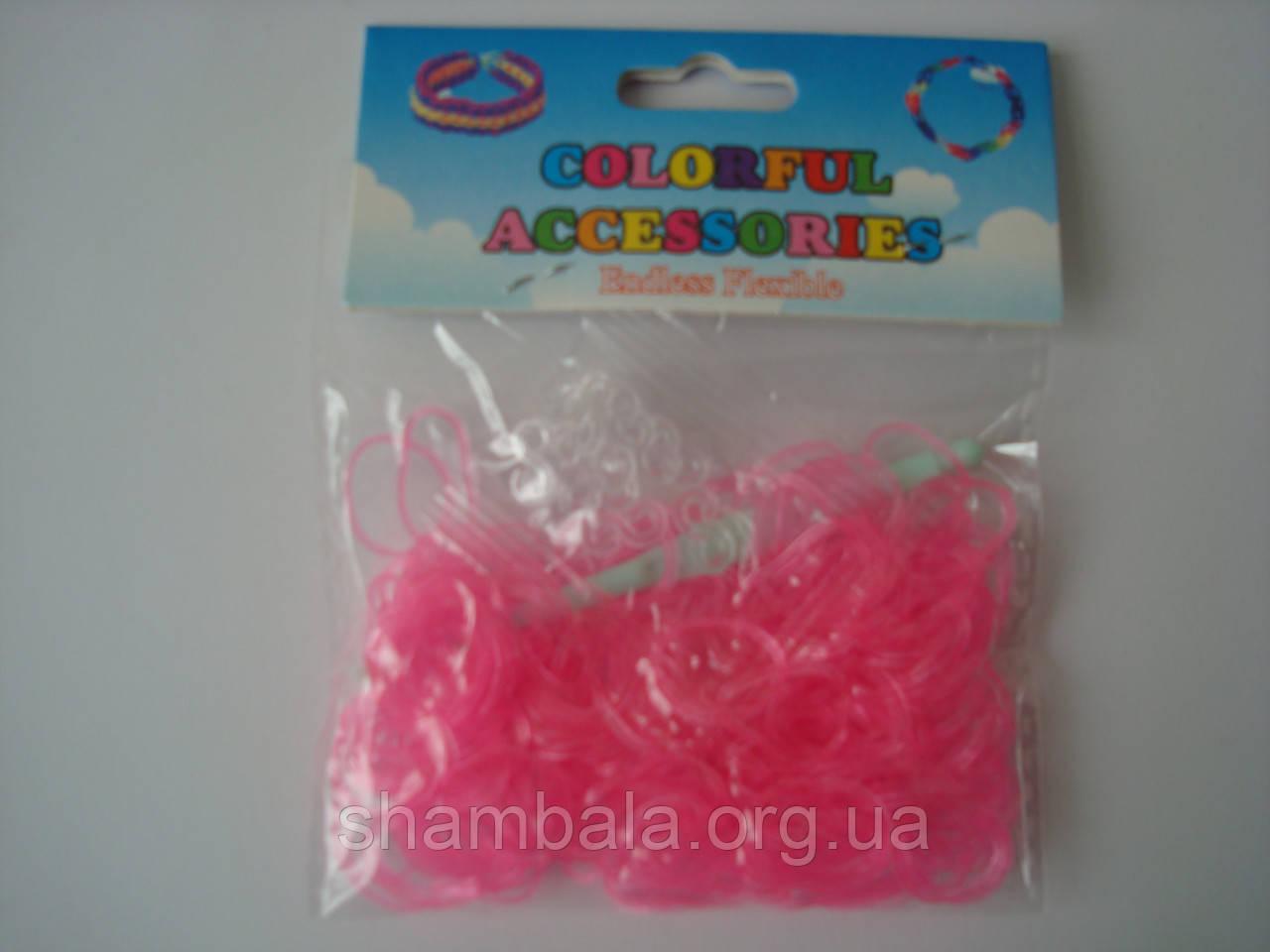 200 штук неоновых розовых резиночек для плетения Loom Bands