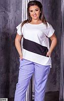 Трикотажная футболка женская летняя ассиметрия больших размеров 48-58, 4 цвета