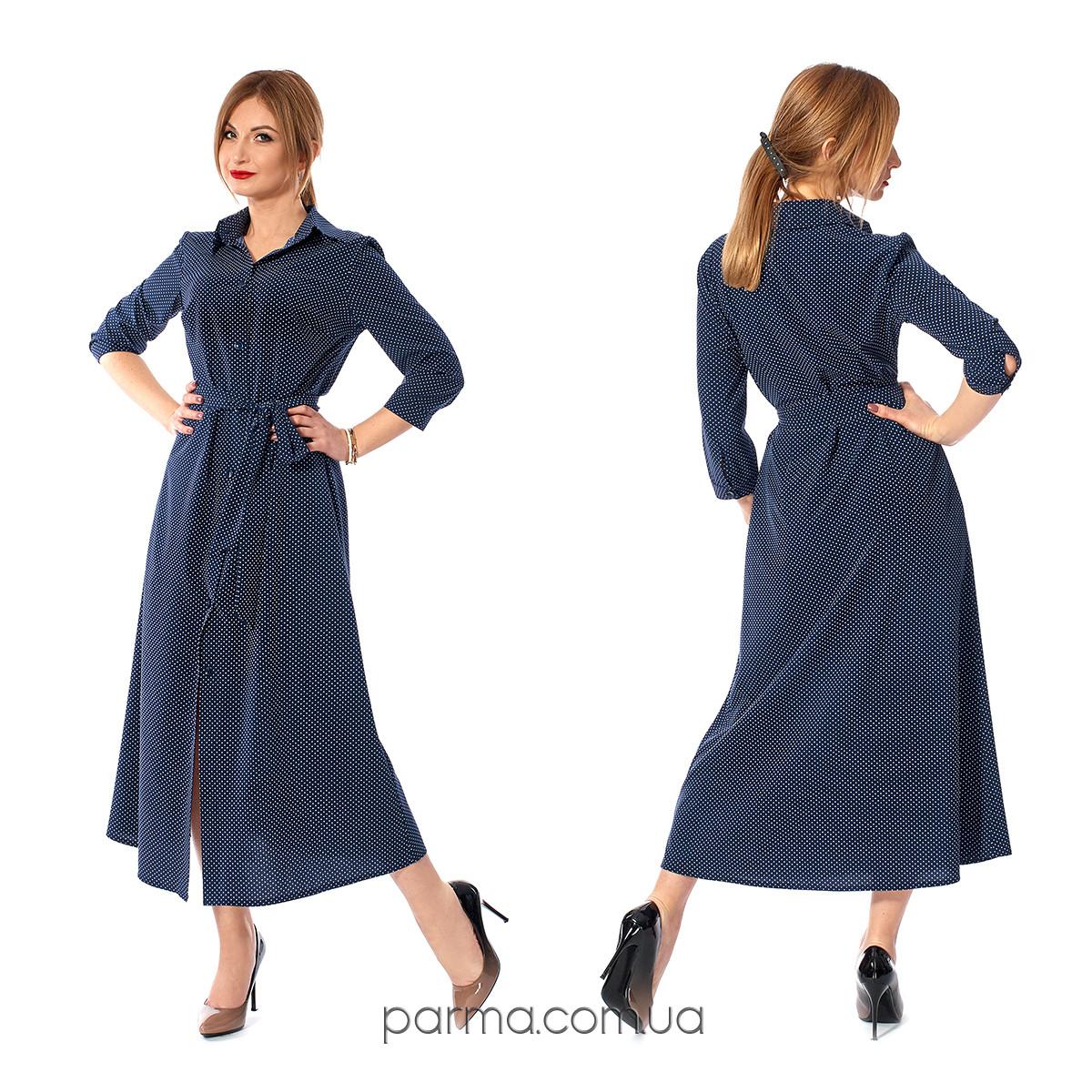 3db6306bd7e Длинное женское платье-рубашка в горошек (р.42