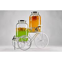 """Лимонадницы для Кенди баров c пластиковым краником. Диспенсеры для лимонада на кованной подставке """"Велосипед""""."""