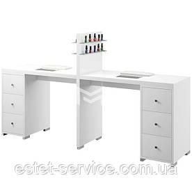 Манікюрний стіл з поличками для лаку на два майстри в білому кольорі М123