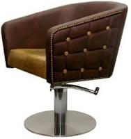 Парикмахерское кресло на гидроподъемнике ПРЕСТИЖ С пуговицами, Кожзам бюджет