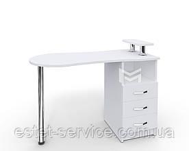 Маникюрный стол со скругленной столешницей, с полочкой М102