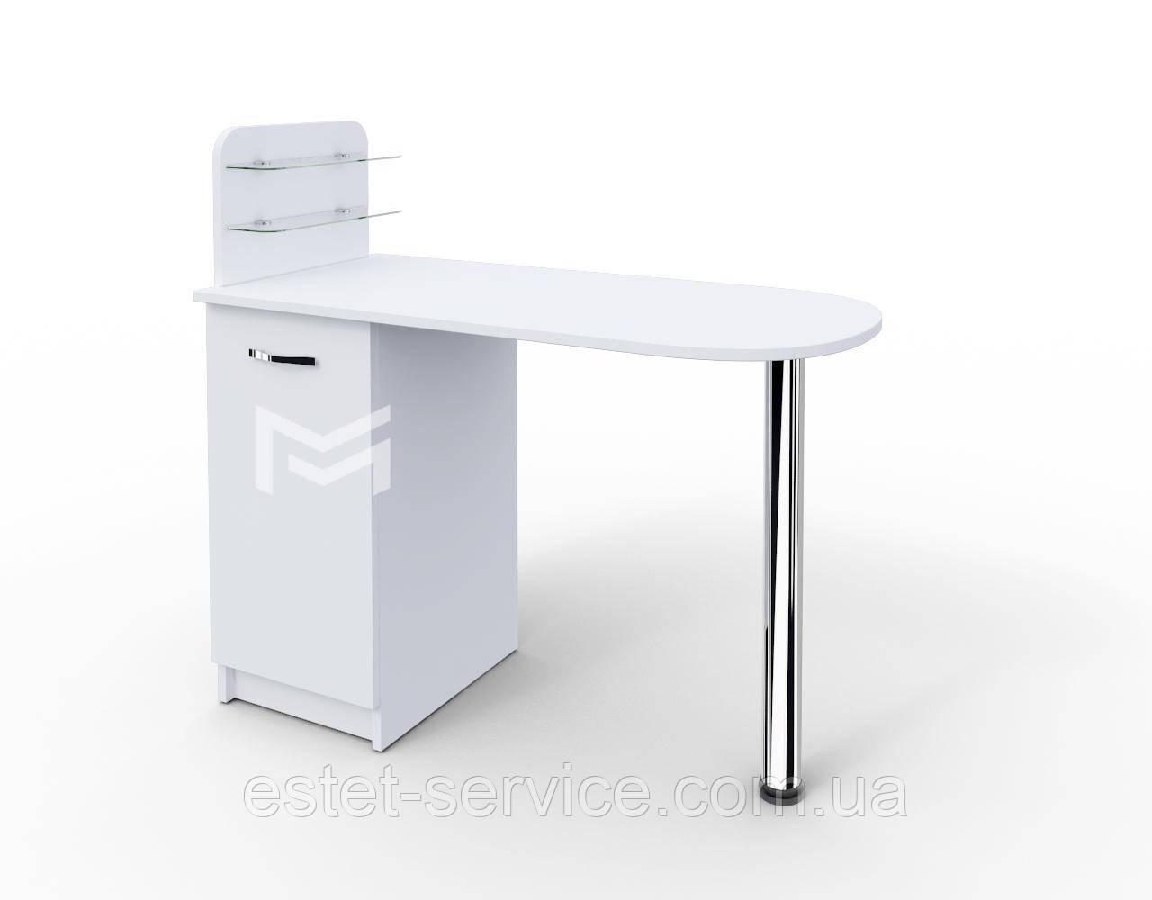 Маникюрный стол Практик c полочками под лак БЕЛЫЙ М105
