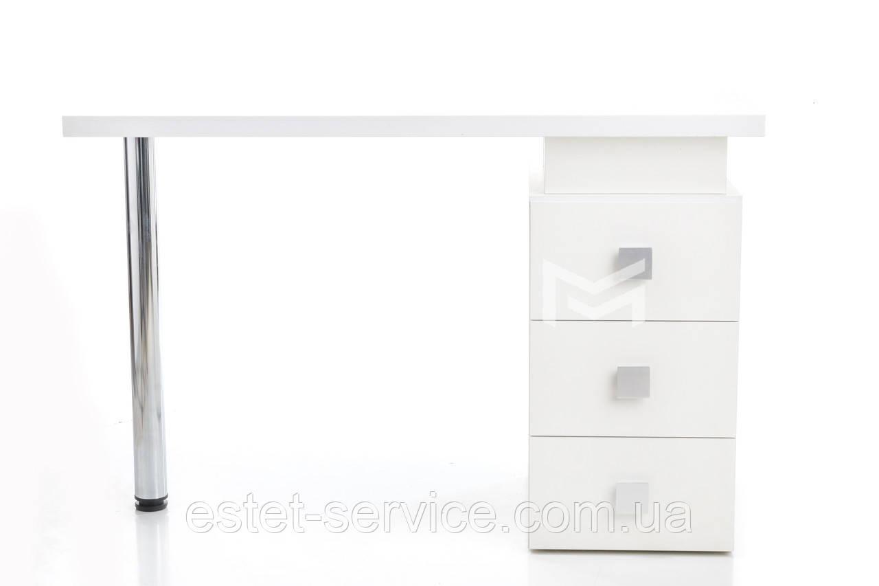 Маникюрный стол с квадратными ручками Триумф белый М110