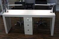Стол для маникюра на два рабочих места, однотумбовый маникюрный стол Престиж (Prestige) на 3 ящика М111