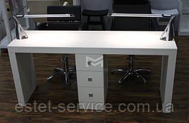 Стіл для манікюру на два робочих місця, однотумбовий манікюрний стіл Престижу (Prestige) на 3 ящики М111