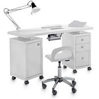 Двухтумбовый стол для маникюра с вытяжкой 101 в белом цвете В101