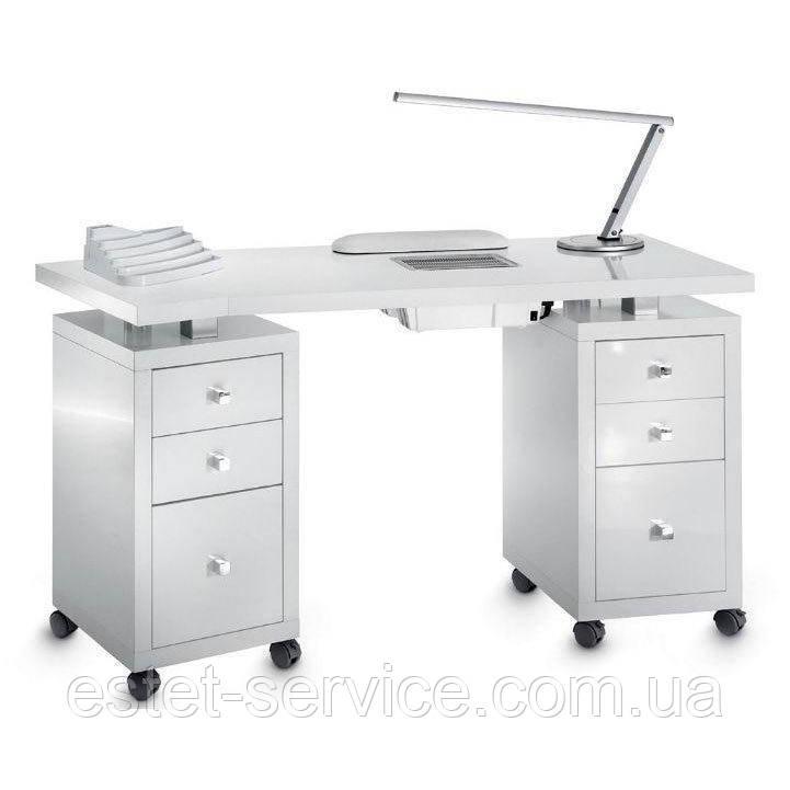 Маникюрный стол с мощной вытяжкой на две тумбы в белом цвете В102