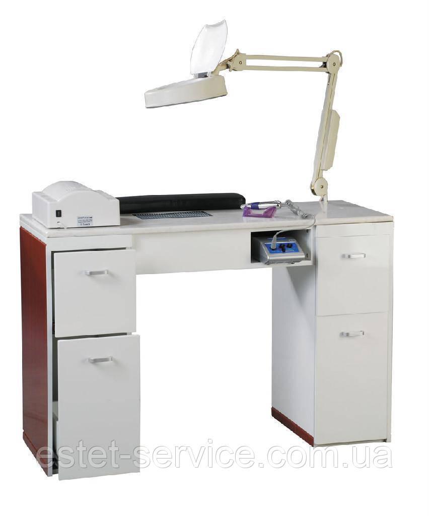 Двухтумбовый маникюрный стол с вытяжками и ультрафиолетом В119