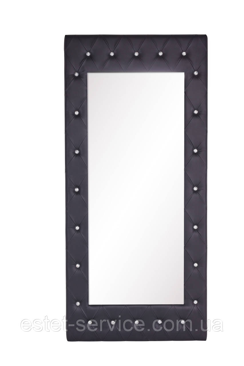 Зеркало в раме, оббитое искуственной замшей с декоративными камнями 700101