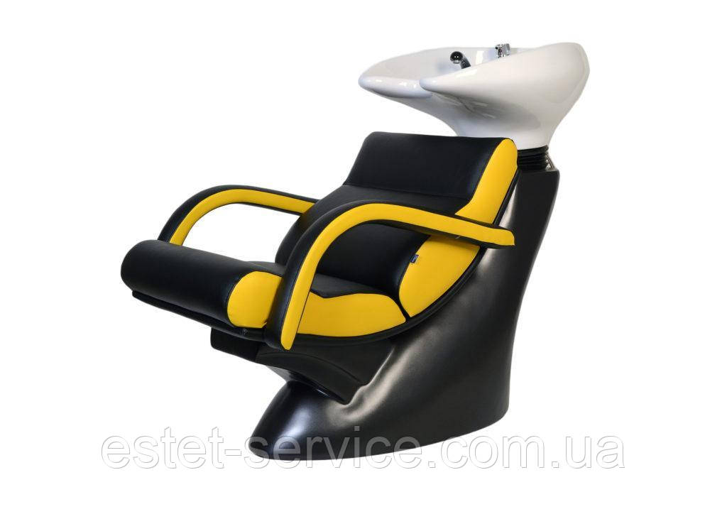 Стильная мойка парикмахерская ЛЮКС с креслом обтянутым кожзамом