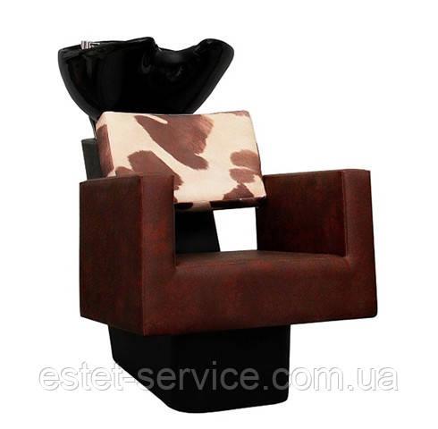 Мойка для парикмахера с пластиковой станиной ПРИМА с креслом КУБИК