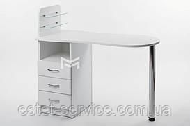 Маникюрный стол Естет №1 со стеклянными полочками под лак БЕЛЫЙ М101