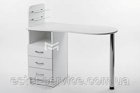 Маникюрный стол Естет №1 со стеклянными полочками под лак БЕЛЫЙ