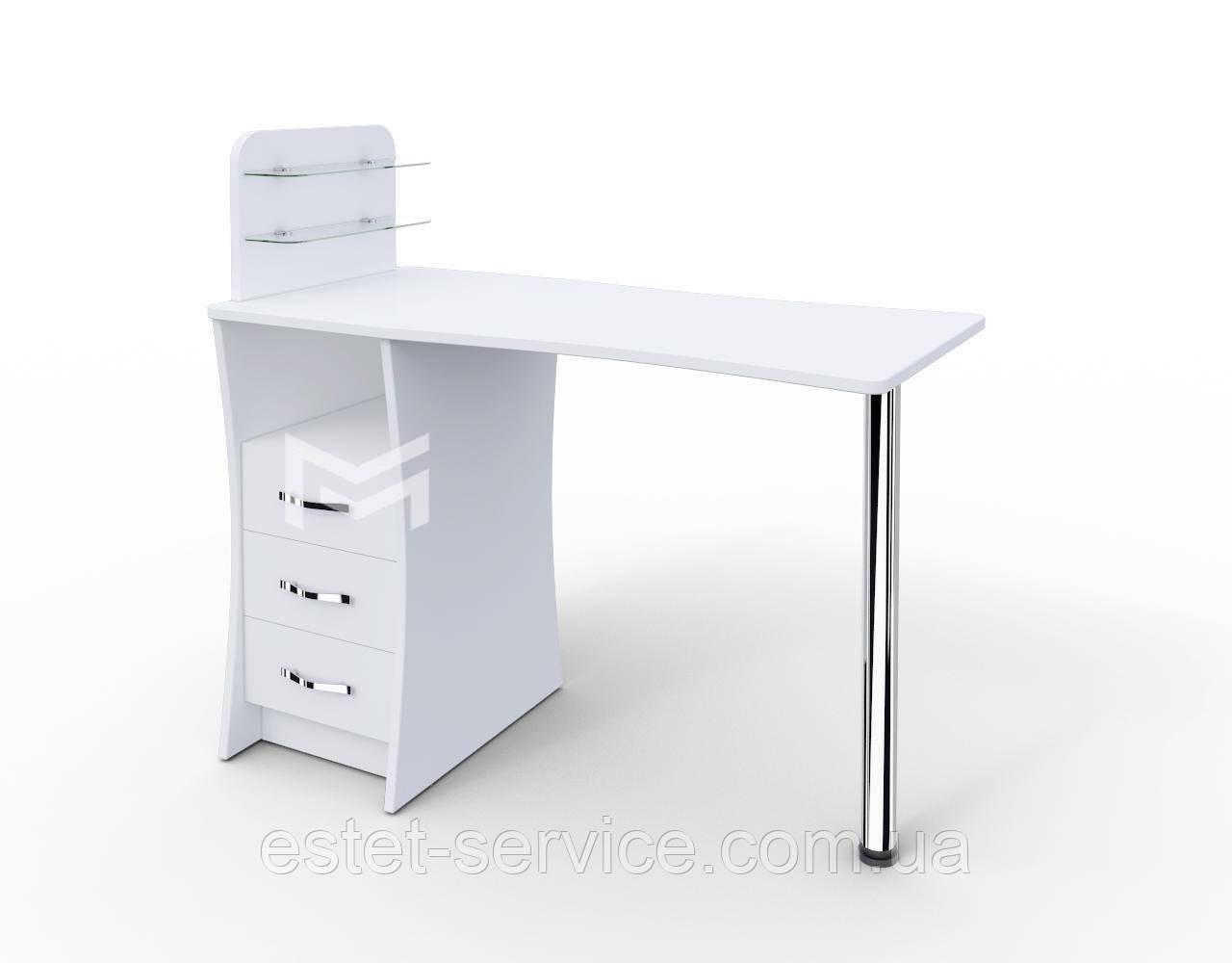 Маникюрный стол Елегант БЕЛЫЙ c стеклянными полочками под лак М104
