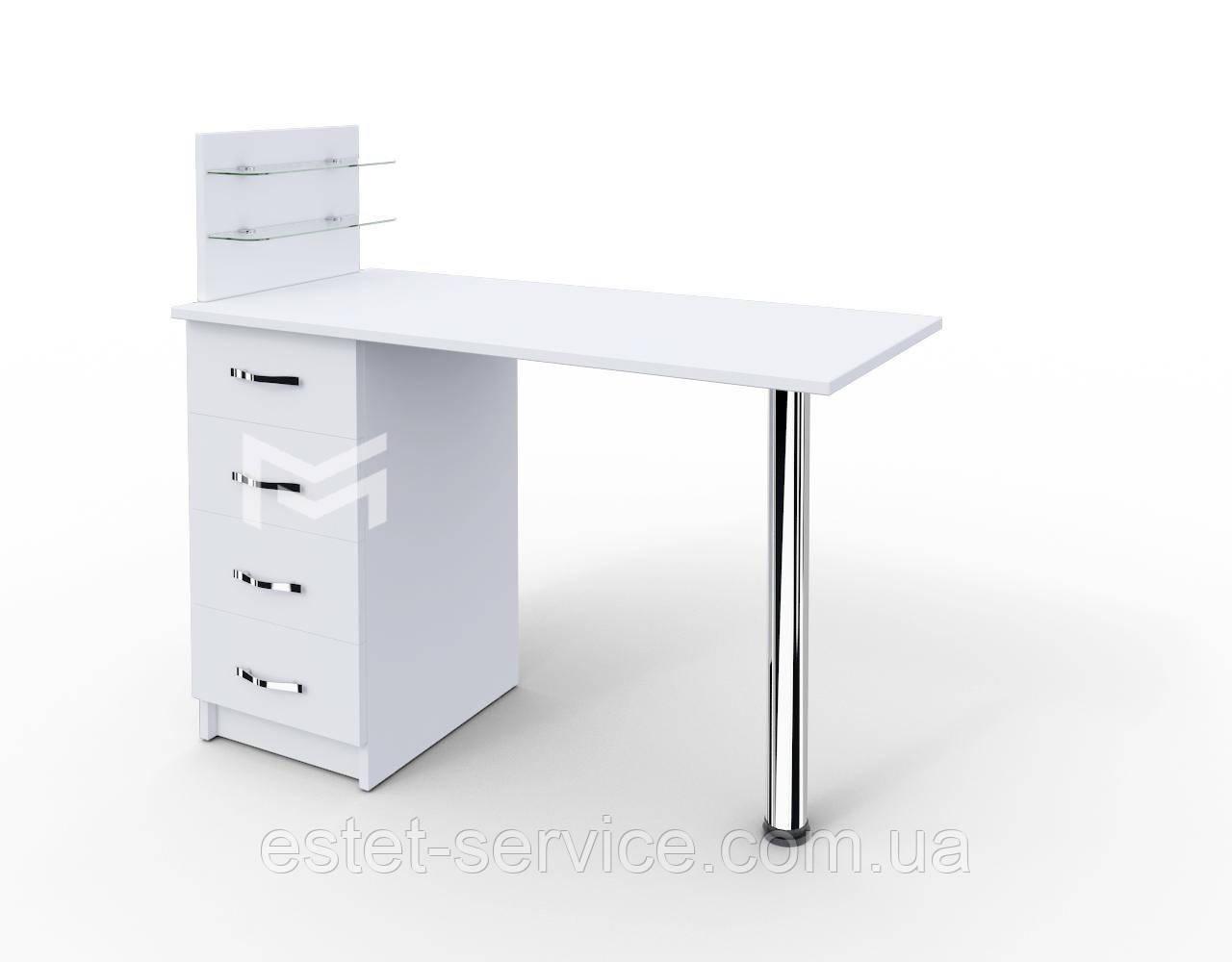 Однотумбовый маникюрный стол с полкой для лаков белый М106