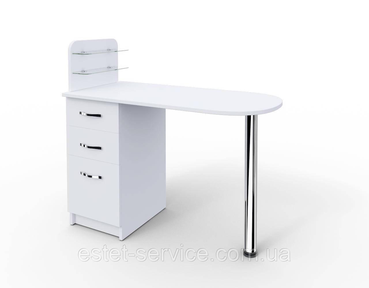 """Маникюрный стол c стеклянными полочками под лак """"Уют"""""""