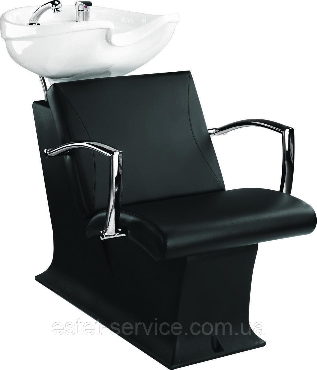 Мойка черная пластиковая ЛЕДИ с креслом КАРМЕН с белой керамикой Гарсон
