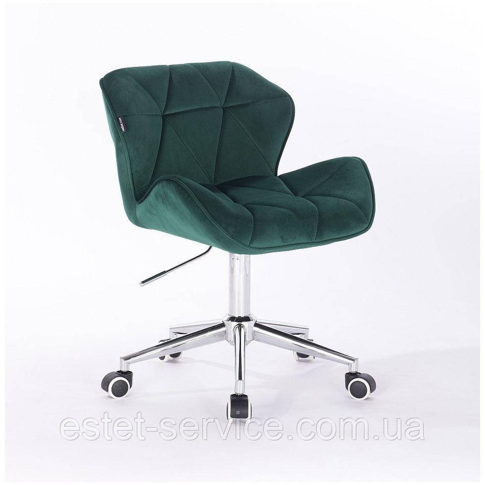 Косметическое кресло HR111K бутылочный зеленый велюр