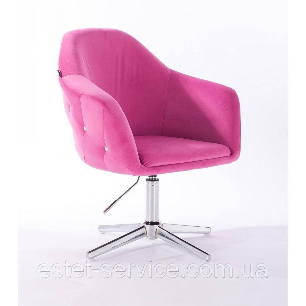 Парикмахерское  кресло HROVE FORM HR547CROSS малиновый велюр