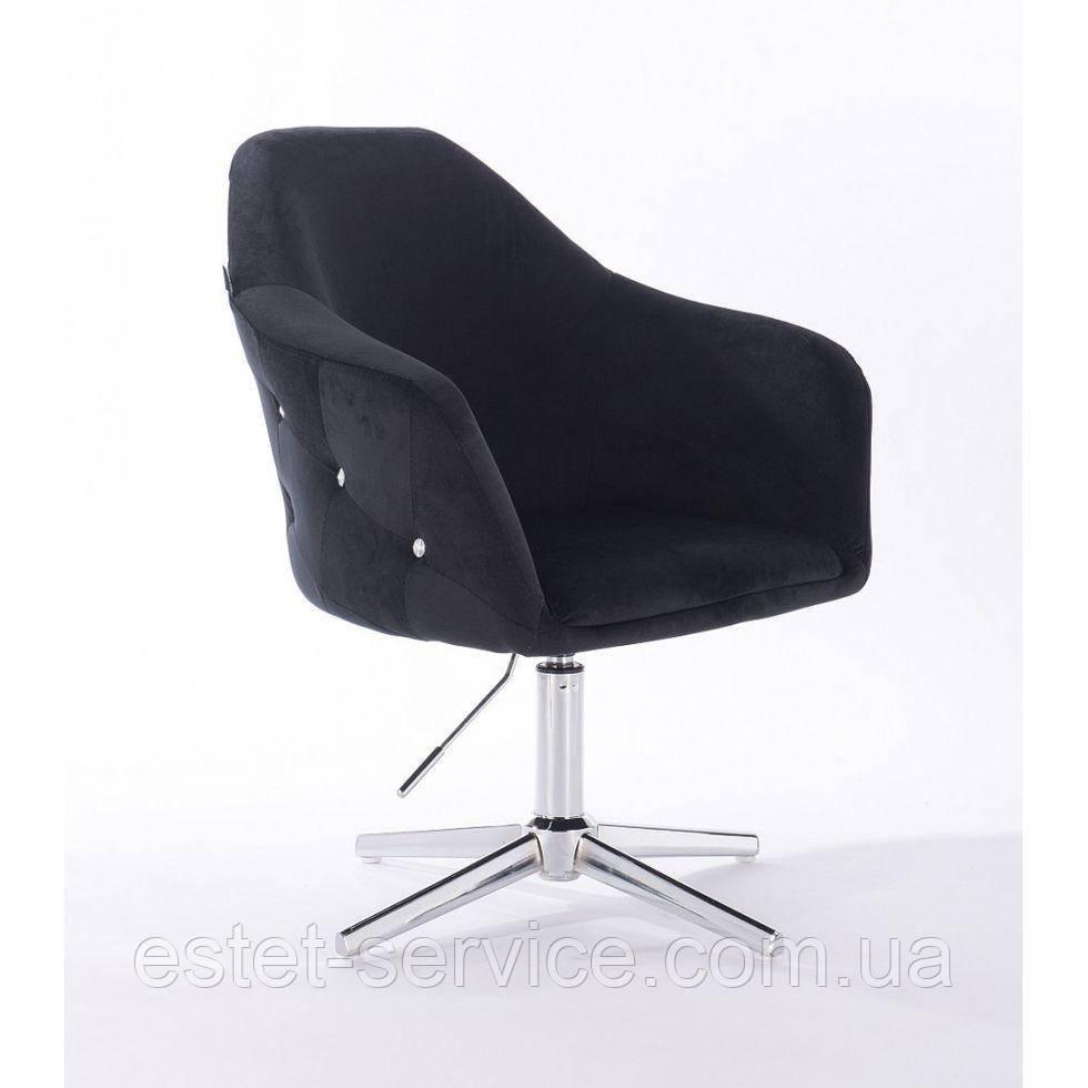 Парикмахерское  кресло HROVE FORM HR547CROSS черный велюр